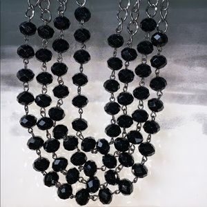 Layered Black Bead Necklace